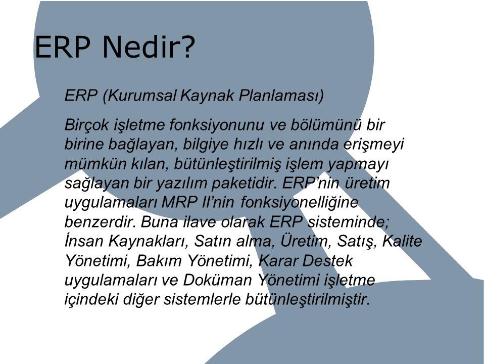 ERP Nedir ERP (Kurumsal Kaynak Planlaması)