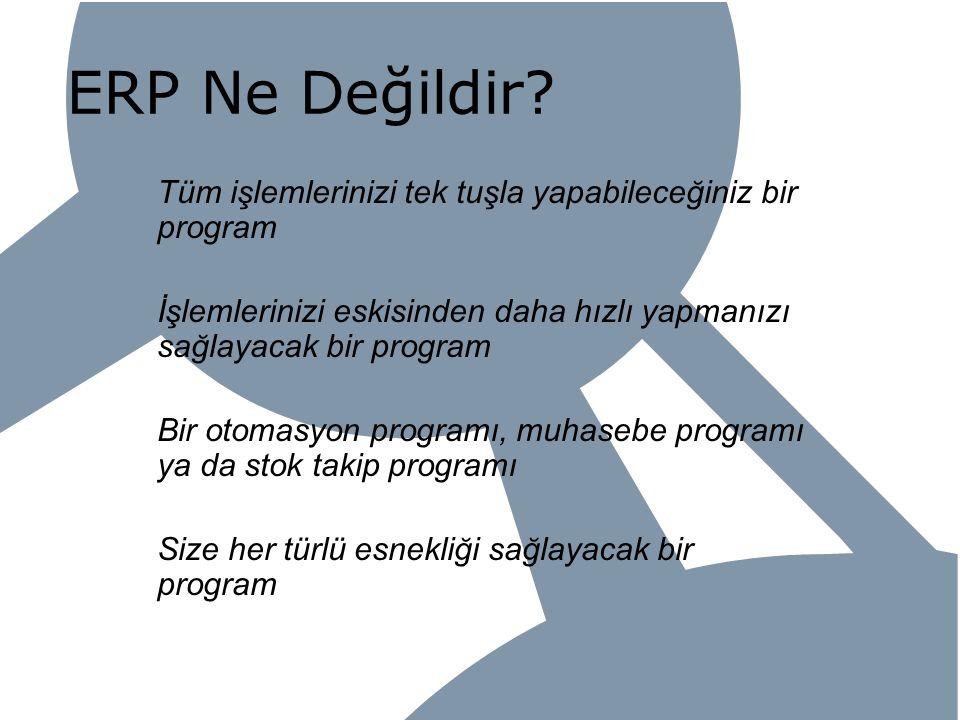 ERP Ne Değildir Tüm işlemlerinizi tek tuşla yapabileceğiniz bir program. İşlemlerinizi eskisinden daha hızlı yapmanızı sağlayacak bir program.