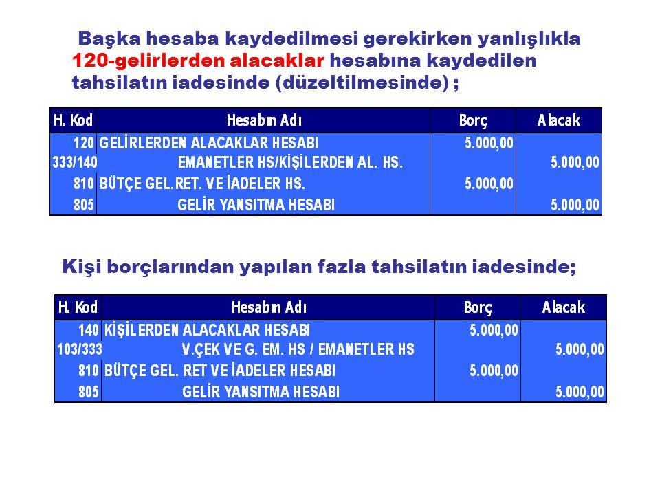 Başka hesaba kaydedilmesi gerekirken yanlışlıkla 120-gelirlerden alacaklar hesabına kaydedilen tahsilatın iadesinde (düzeltilmesinde) ;