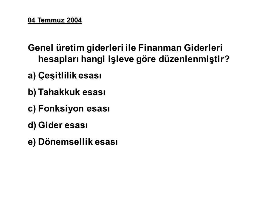 04 Temmuz 2004 Genel üretim giderleri ile Finanman Giderleri hesapları hangi işleve göre düzenlenmiştir