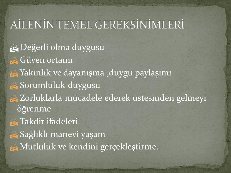 AİLENİN TEMEL GEREKSİNİMLERİ