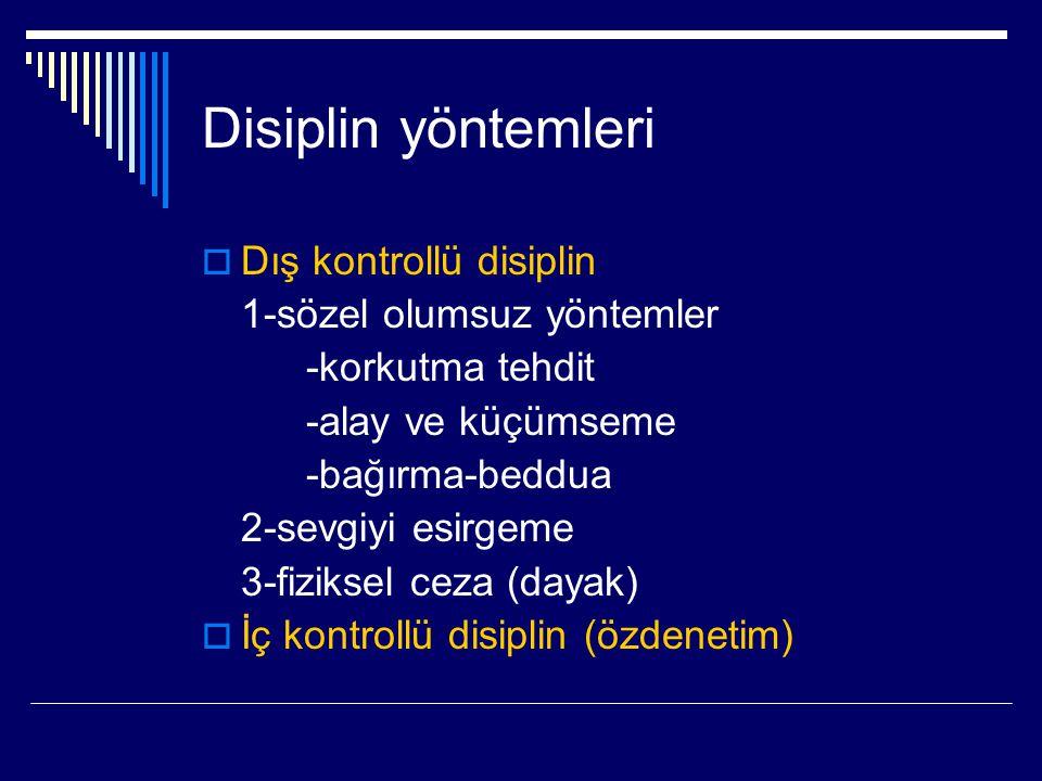 Disiplin yöntemleri Dış kontrollü disiplin 1-sözel olumsuz yöntemler