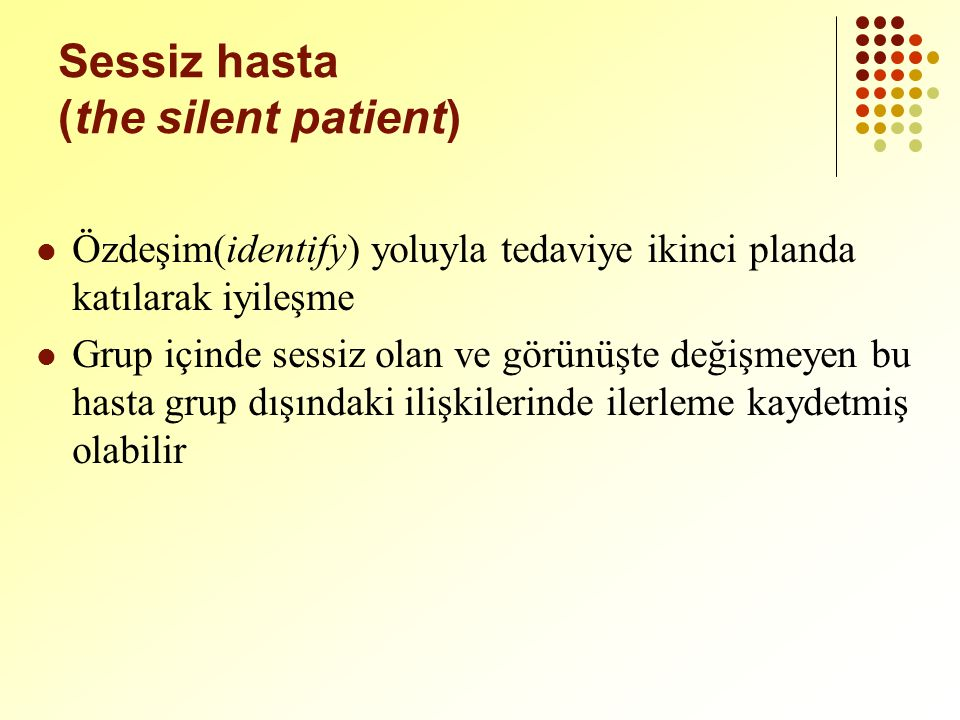 Sessiz hasta (the silent patient)
