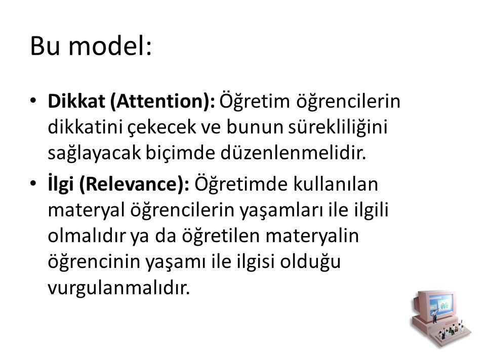 Bu model: Dikkat (Attention): Öğretim öğrencilerin dikkatini çekecek ve bunun sürekliliğini sağlayacak biçimde düzenlenmelidir.