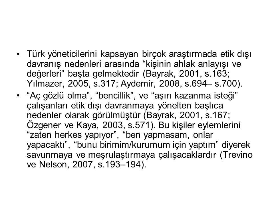 Türk yöneticilerini kapsayan birçok araştırmada etik dışı davranış nedenleri arasında kişinin ahlak anlayışı ve değerleri başta gelmektedir (Bayrak, 2001, s.163; Yılmazer, 2005, s.317; Aydemir, 2008, s.694– s.700).