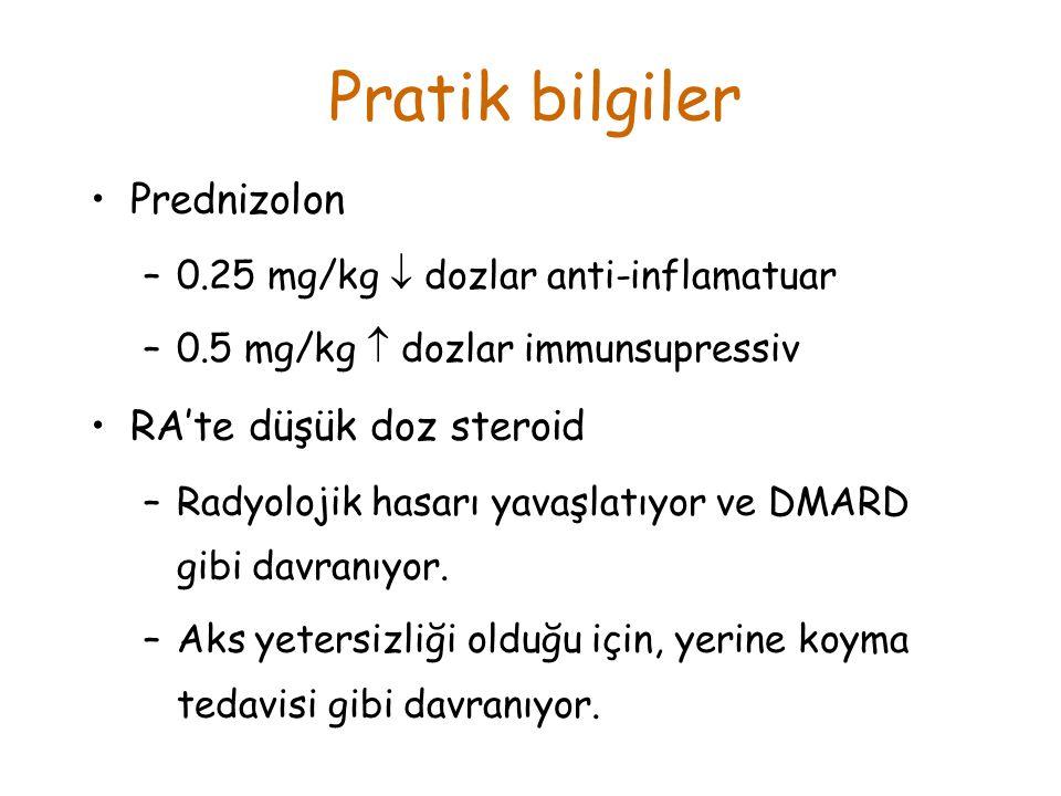 Pratik bilgiler Prednizolon RA'te düşük doz steroid