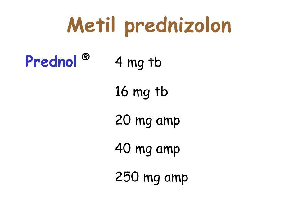 Metil prednizolon Prednol ® 4 mg tb 16 mg tb 20 mg amp 40 mg amp
