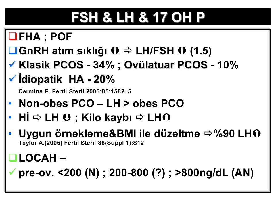 FSH & LH & 17 OH P FHA ; POF GnRH atım sıklığı   LH/FSH  (1.5)