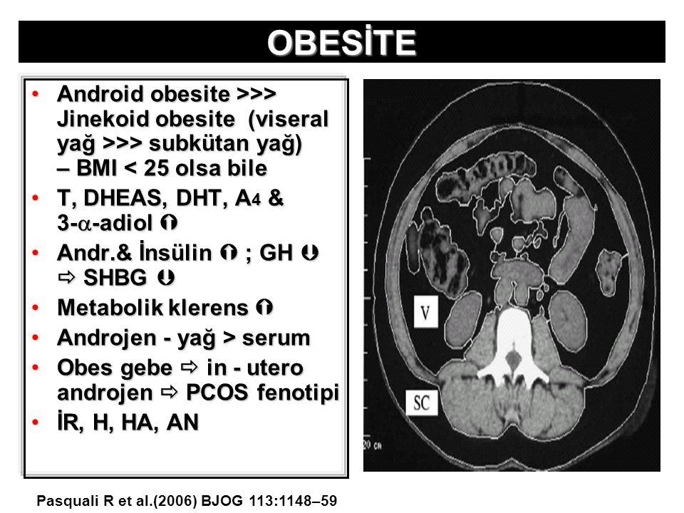 OBESİTE Android obesite >>> Jinekoid obesite (viseral yağ >>> subkütan yağ) – BMI < 25 olsa bile.