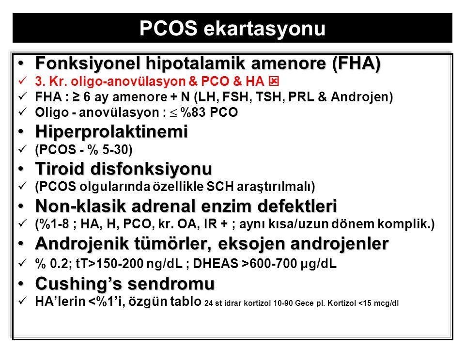 PCOS ekartasyonu Fonksiyonel hipotalamik amenore (FHA)