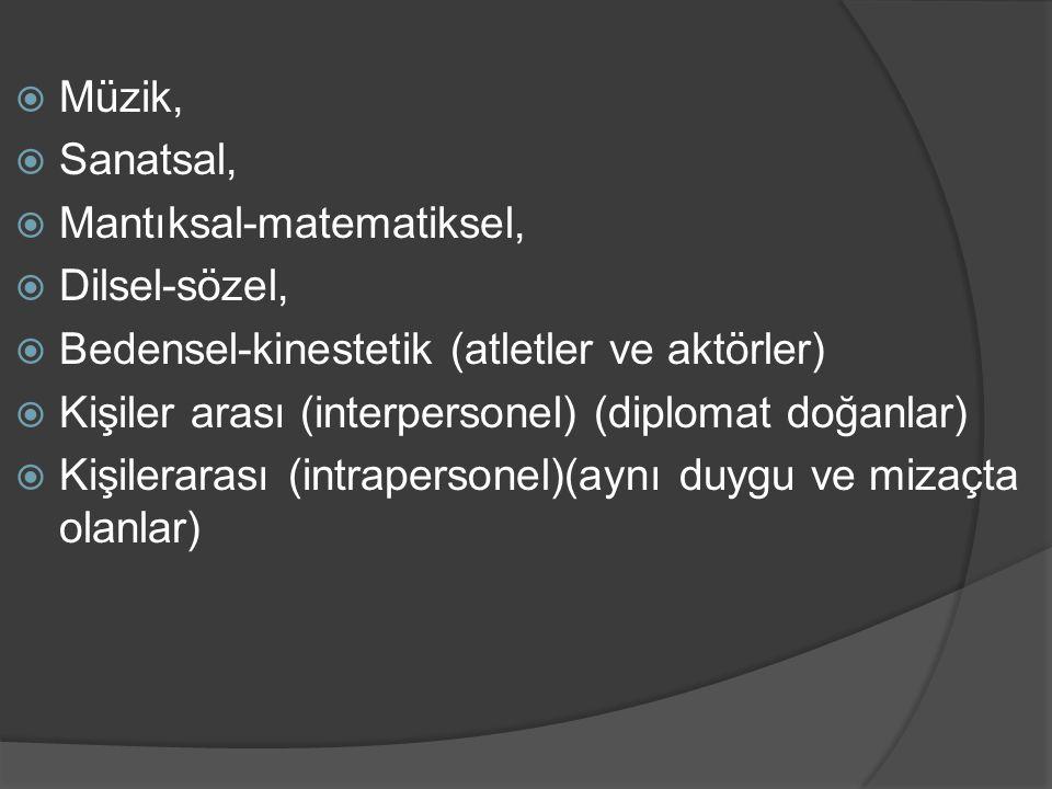 Müzik, Sanatsal, Mantıksal-matematiksel, Dilsel-sözel, Bedensel-kinestetik (atletler ve aktörler)