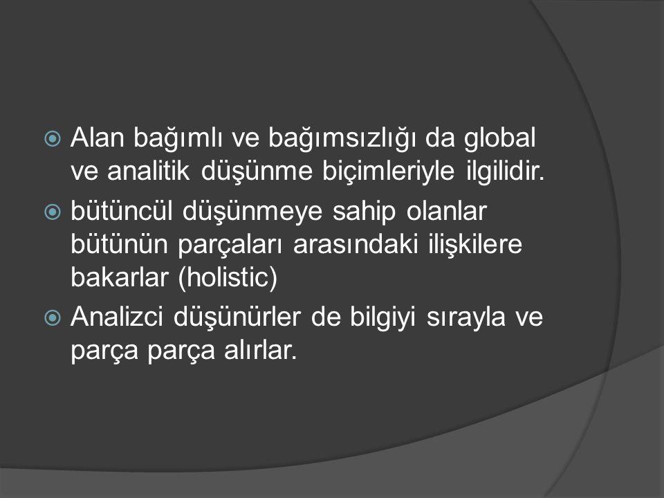 Alan bağımlı ve bağımsızlığı da global ve analitik düşünme biçimleriyle ilgilidir.