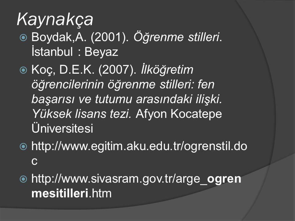 Kaynakça Boydak,A. (2001). Öğrenme stilleri. İstanbul : Beyaz