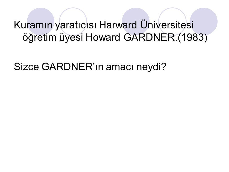 Kuramın yaratıcısı Harward Üniversitesi öğretim üyesi Howard GARDNER