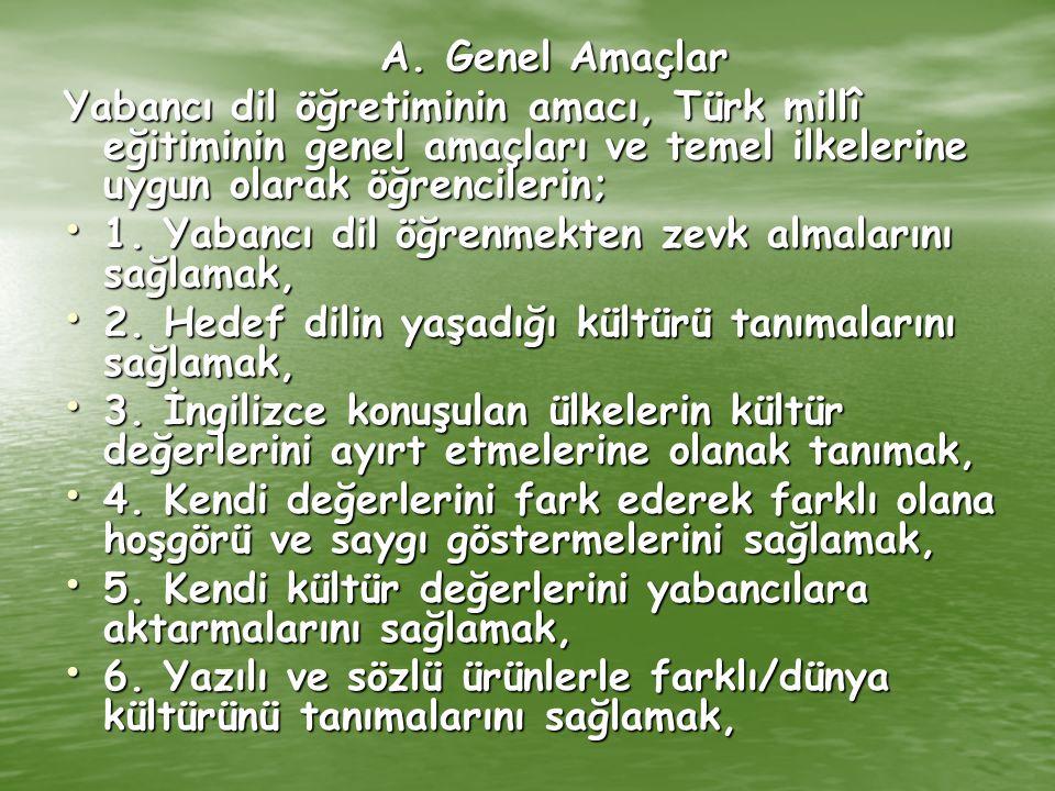 A. Genel Amaçlar Yabancı dil öğretiminin amacı, Türk millî eğitiminin genel amaçları ve temel ilkelerine uygun olarak öğrencilerin;