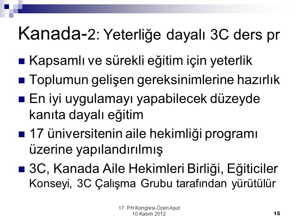 Kanada-2: Yeterliğe dayalı 3C ders pr