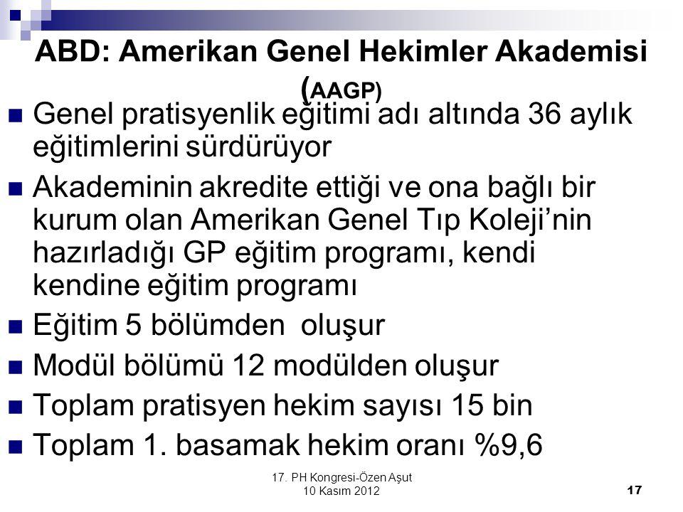 ABD: Amerikan Genel Hekimler Akademisi (AAGP)