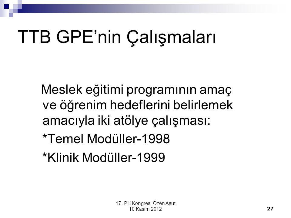 TTB GPE'nin Çalışmaları