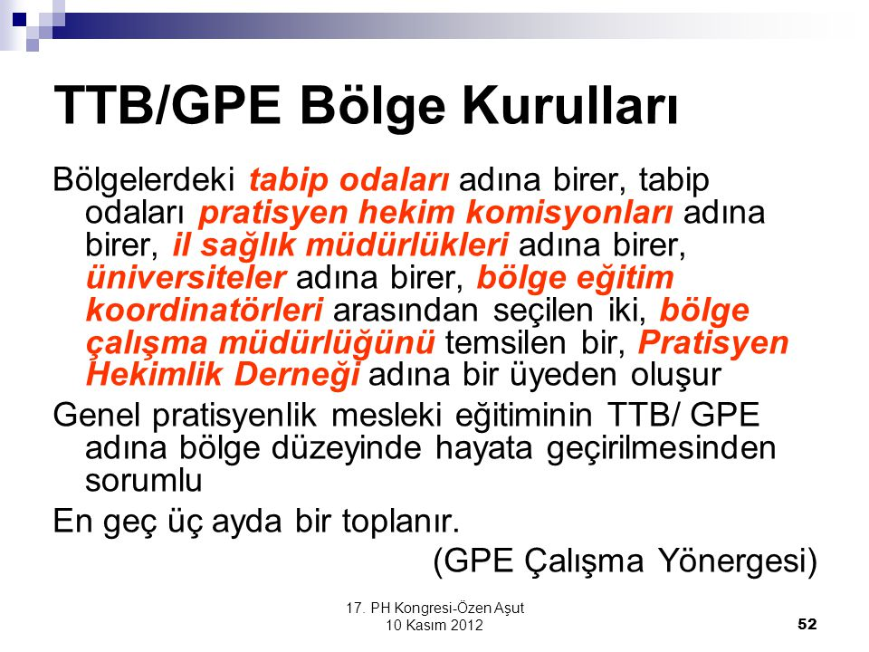 TTB/GPE Bölge Kurulları