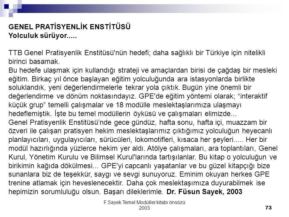 F Sayek Temel Modüller kitabı önsözü 2003