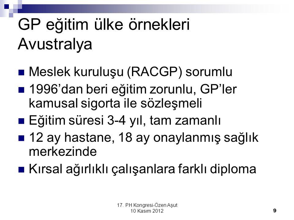 GP eğitim ülke örnekleri Avustralya