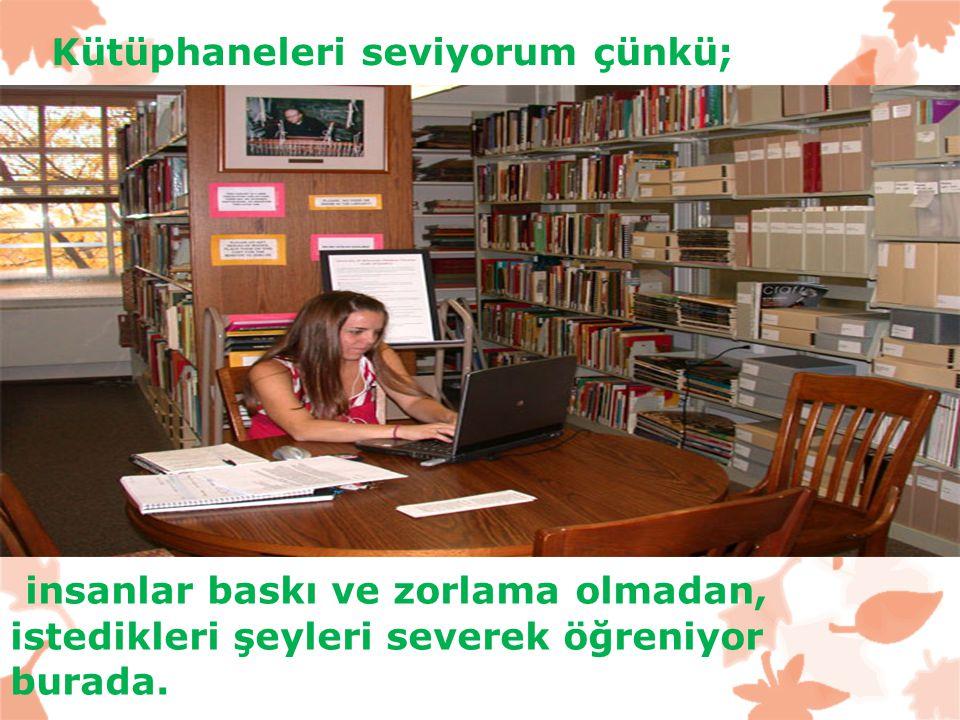 Kütüphaneleri seviyorum çünkü;
