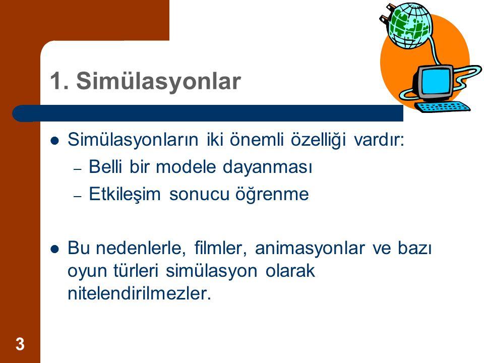 1. Simülasyonlar Simülasyonların iki önemli özelliği vardır: