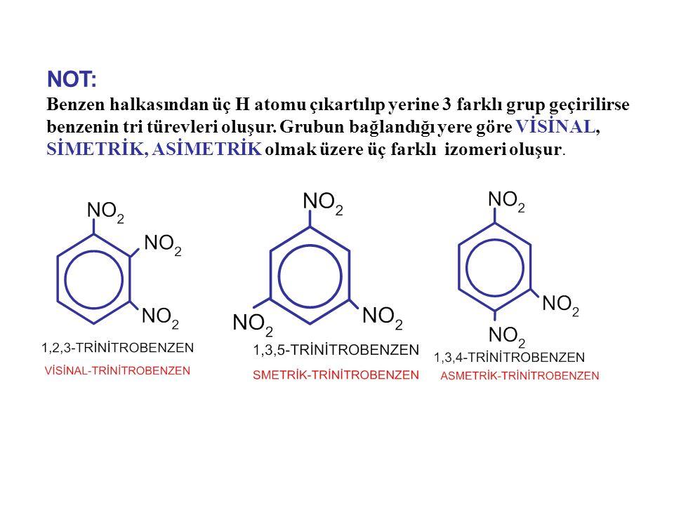 NOT: Benzen halkasından üç H atomu çıkartılıp yerine 3 farklı grup geçirilirse benzenin tri türevleri oluşur.