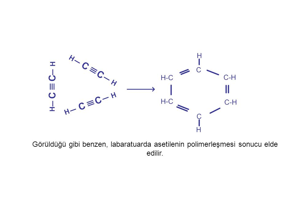 Görüldüğü gibi benzen, labaratuarda asetilenin polimerleşmesi sonucu elde edilir.