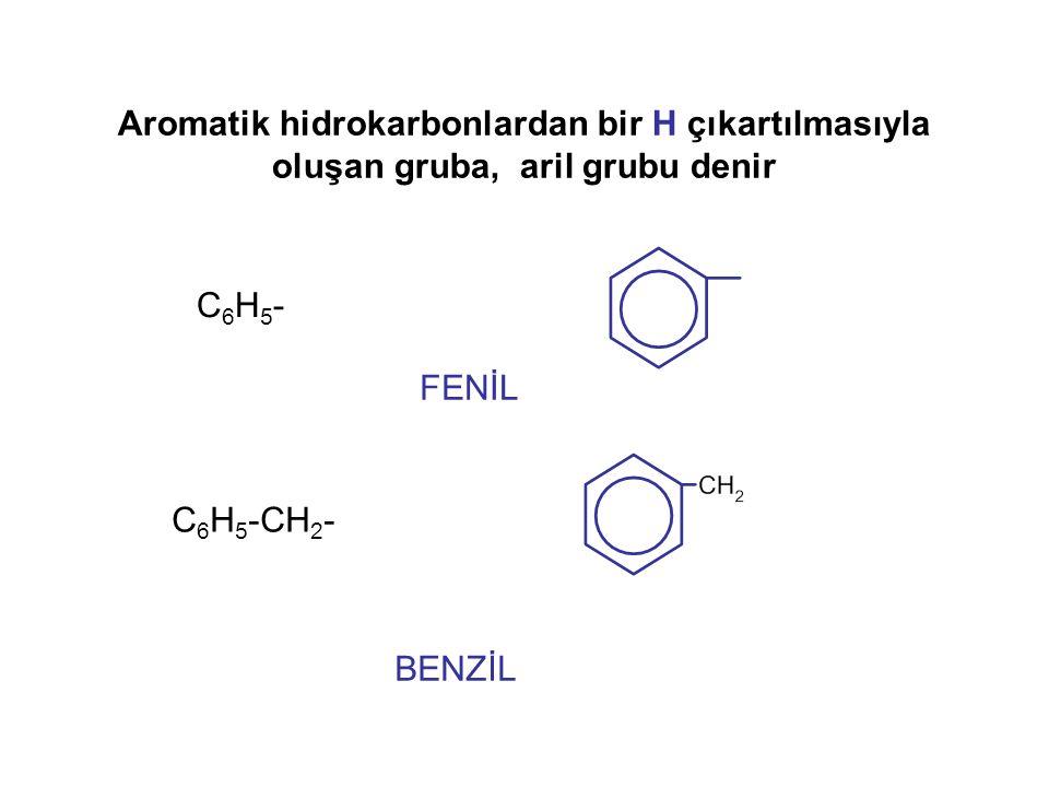 Aromatik hidrokarbonlardan bir H çıkartılmasıyla oluşan gruba, aril grubu denir
