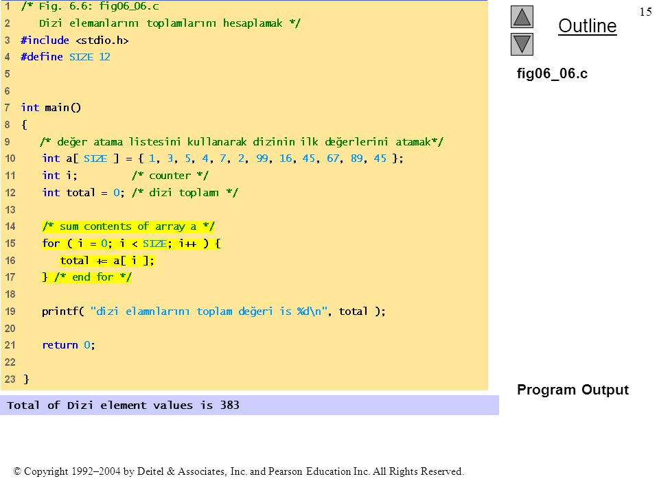 fig06_06.c Program Output Total of Dizi element values is 383