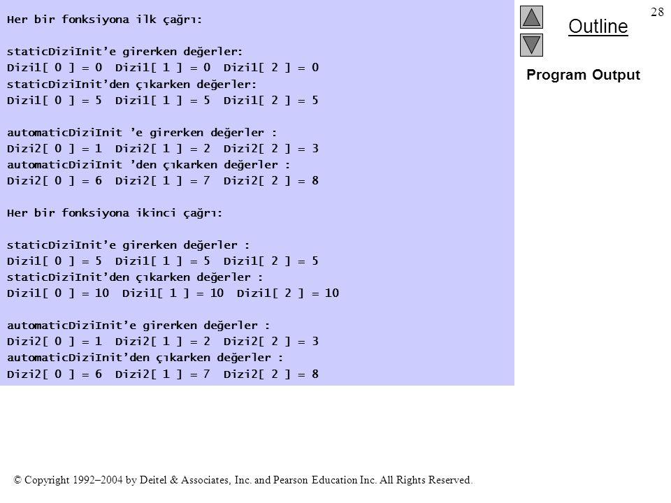Program Output Her bir fonksiyona ilk çağrı: