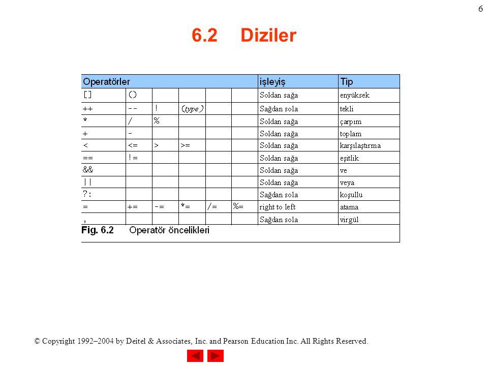 6.2 Diziler