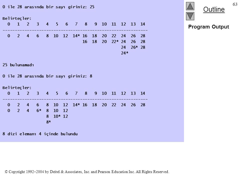 Program Output 0 ile 28 arasında bir sayı giriniz: 25 Belirteçler: