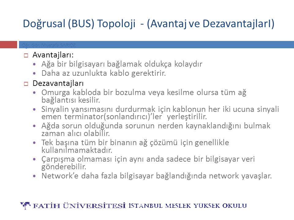 Doğrusal (BUS) Topoloji - (Avantaj ve DezavantajlarI)