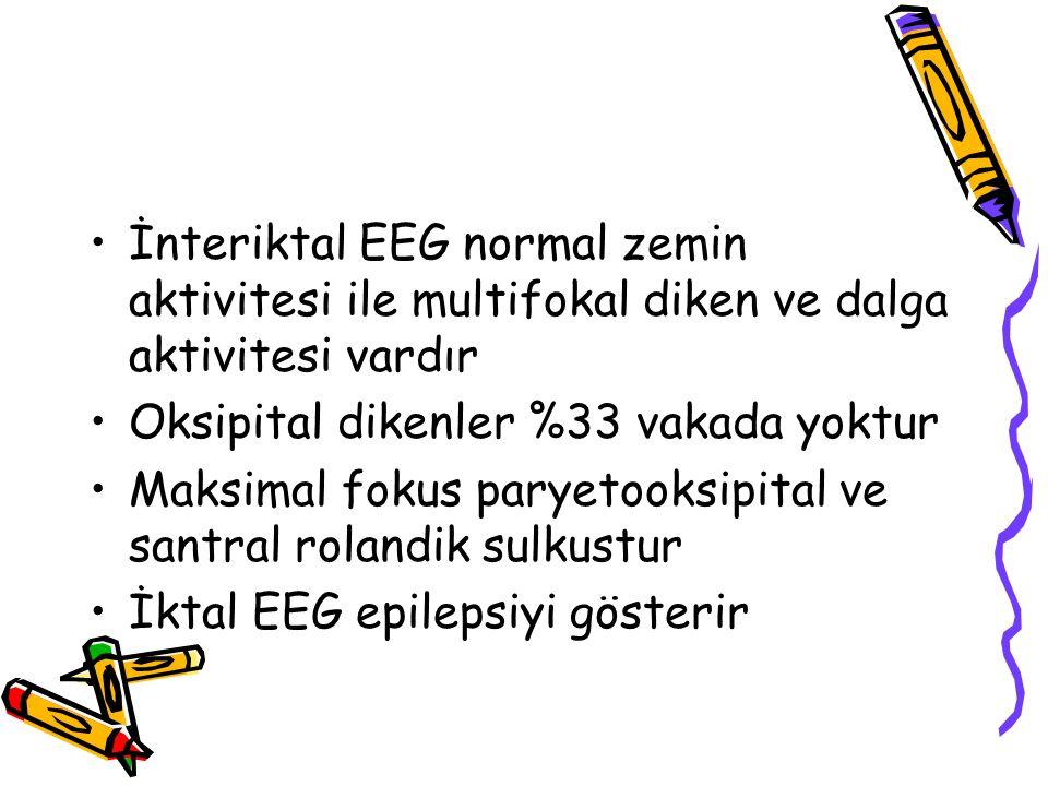 İnteriktal EEG normal zemin aktivitesi ile multifokal diken ve dalga aktivitesi vardır