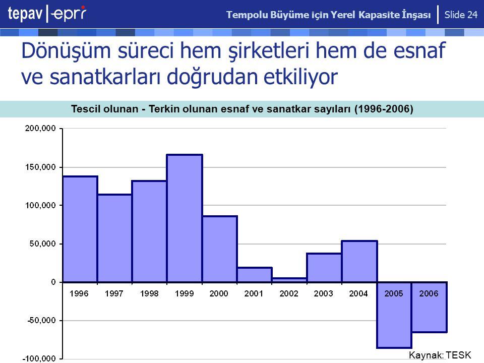 Tescil olunan - Terkin olunan esnaf ve sanatkar sayıları (1996-2006)