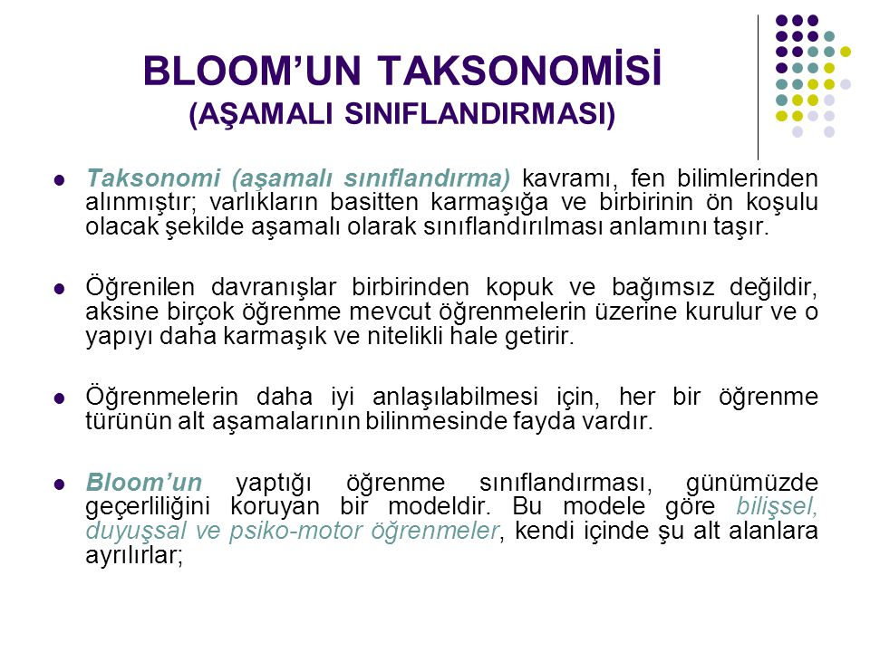 BLOOM'UN TAKSONOMİSİ (AŞAMALI SINIFLANDIRMASI)