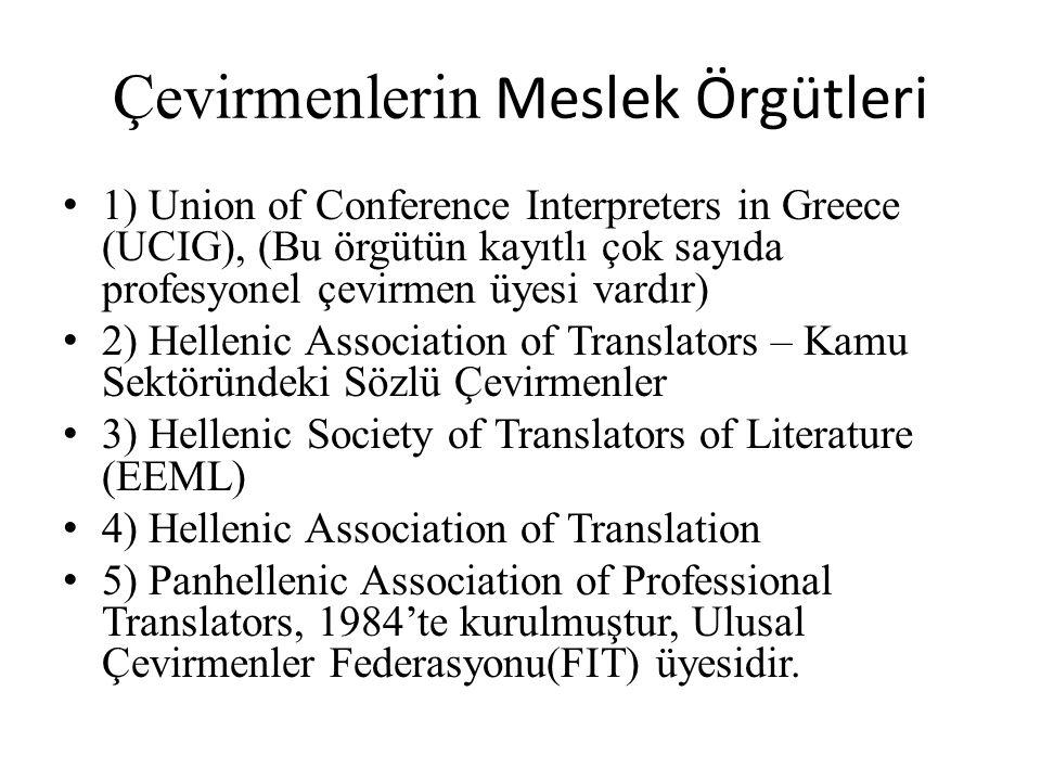 Çevirmenlerin Meslek Örgütleri