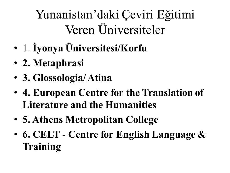 Yunanistan'daki Çeviri Eğitimi Veren Üniversiteler