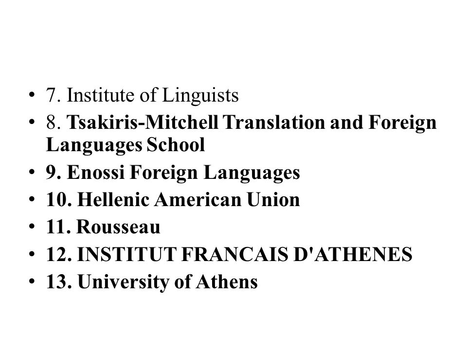 7. Institute of Linguists