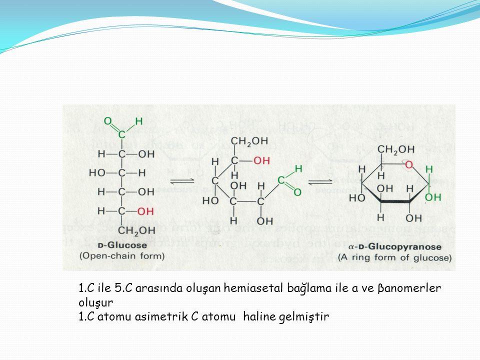 1.C ile 5.C arasında oluşan hemiasetal bağlama ile a ve βanomerler oluşur