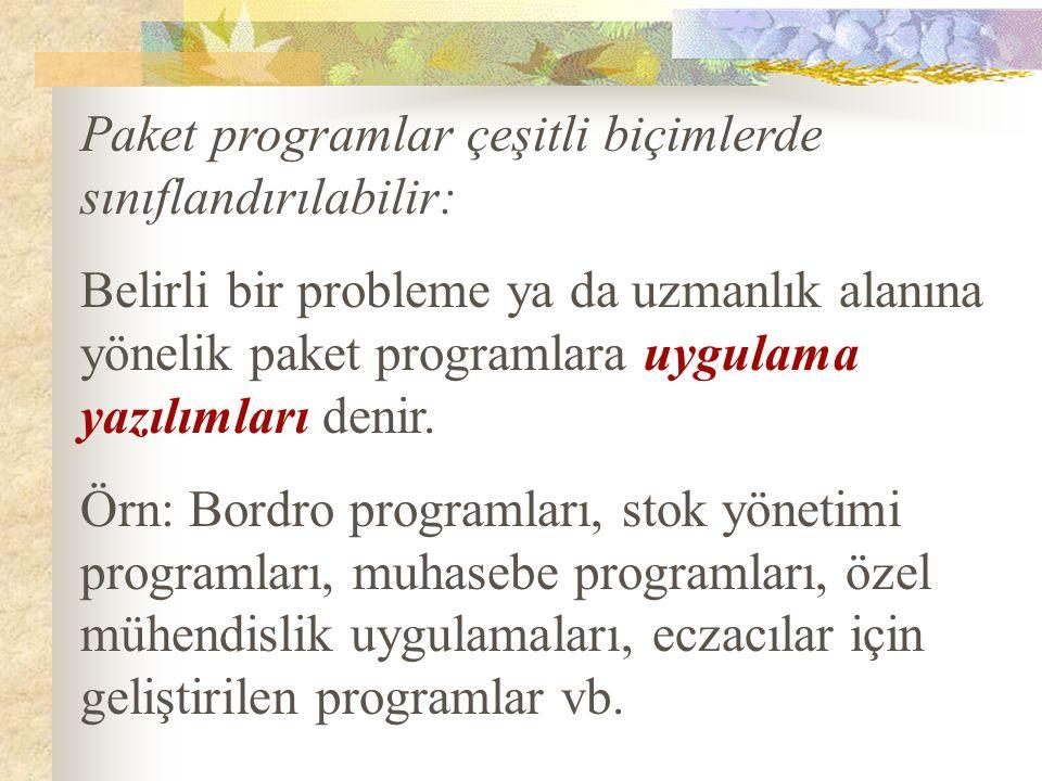 Paket programlar çeşitli biçimlerde sınıflandırılabilir: