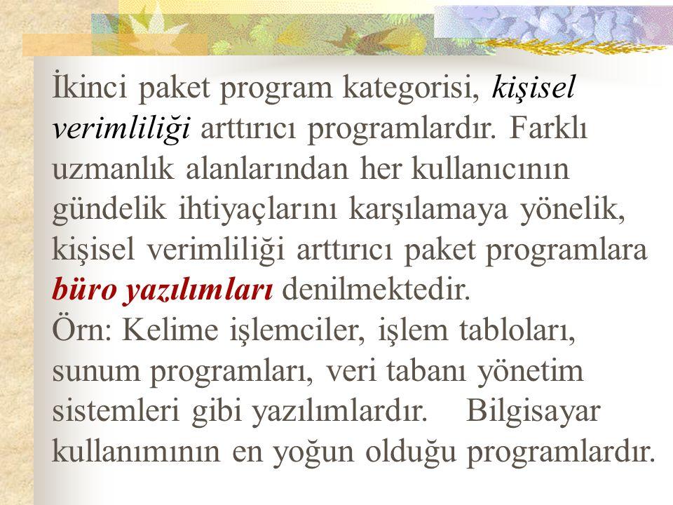 İkinci paket program kategorisi, kişisel verimliliği arttırıcı programlardır.