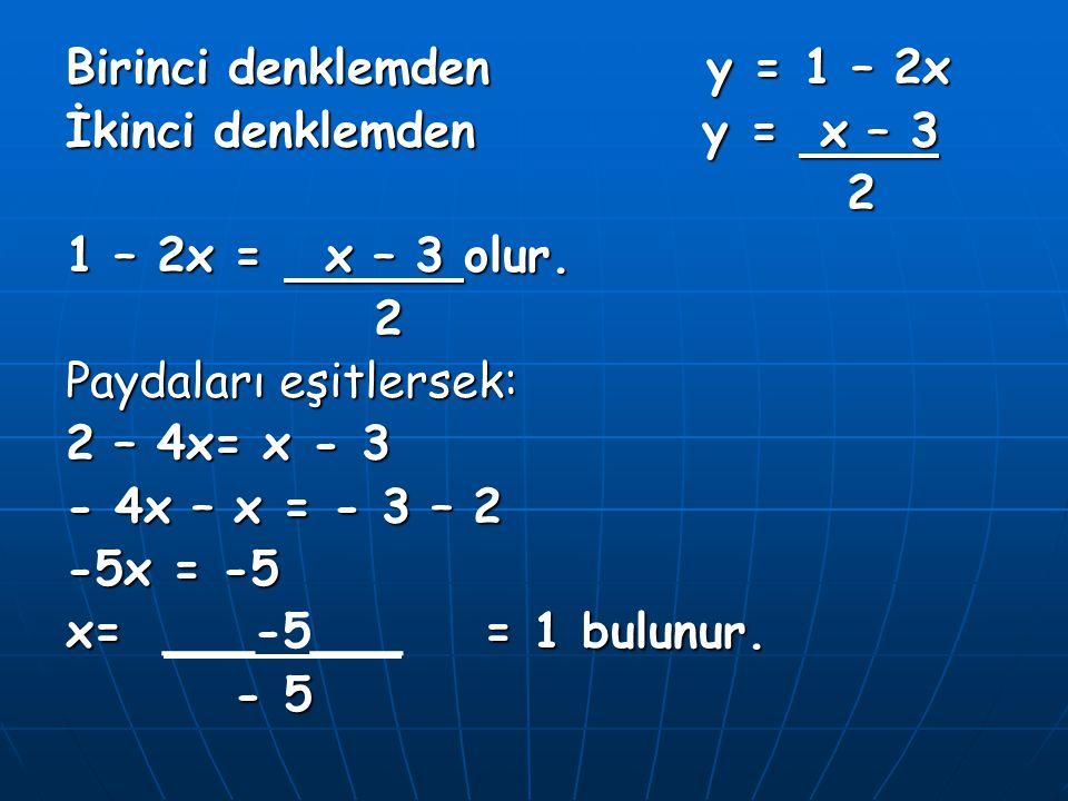 Birinci denklemden y = 1 – 2x
