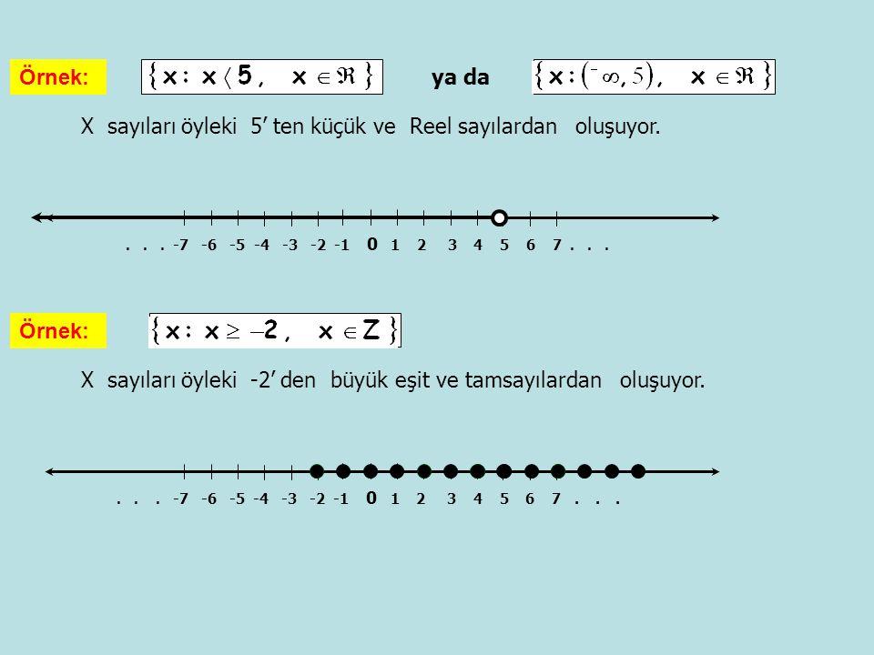 X sayıları öyleki 5' ten küçük ve Reel sayılardan oluşuyor.