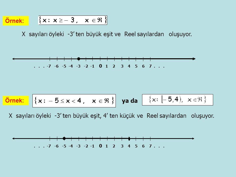 X sayıları öyleki -3' ten büyük eşit ve Reel sayılardan oluşuyor.