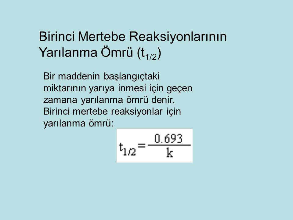 Birinci Mertebe Reaksiyonlarının Yarılanma Ömrü (t1/2)