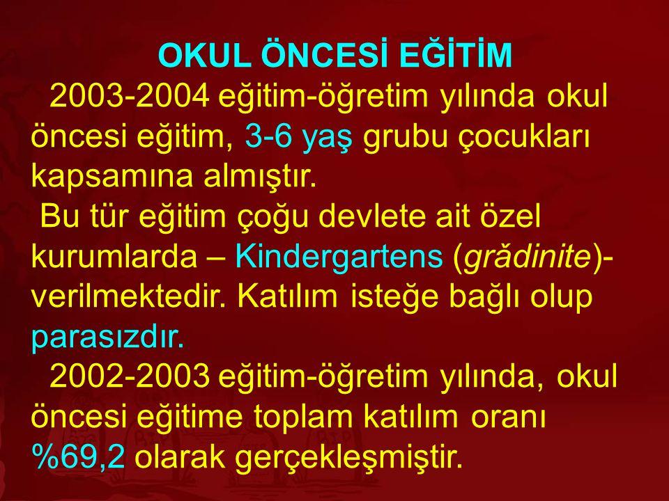 OKUL ÖNCESİ EĞİTİM 2003-2004 eğitim-öğretim yılında okul öncesi eğitim, 3-6 yaş grubu çocukları kapsamına almıştır.