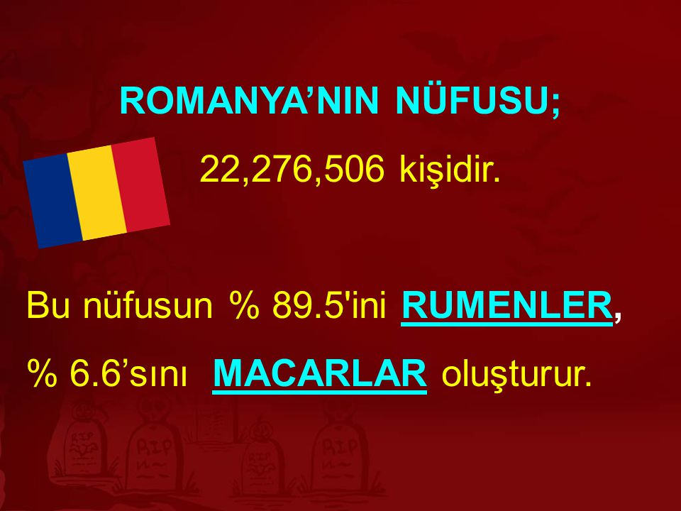 ROMANYA'NIN NÜFUSU; 22,276,506 kişidir.
